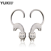 YUKI original design 925 Silver earrings silver ladies Korean fashion jewelry cat ear hook to send Valentine gifts