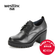 West fall 2015 new leather strap with round head high and thick dark coarse with high heel shoes women's shoes at the end of the tide