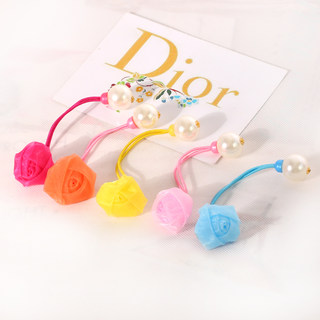 Know Richie network of children''s hair accessories Korean yarn Pearl hair flower rose string rope hair rubber band