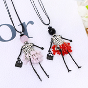 Know Richie jewelry Korean version of Crystal patches of sweet girls long necklace sweater chain wild decorative ladies necklace