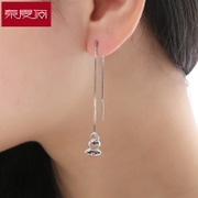 Spring Festival in beautiful baby ear line female Japanese and Korean long simple tassels gift 925 Silver jewelry earrings are hypoallergenic