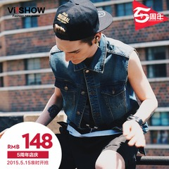 Viishow men's spring 2015 single-breasted denim cotton skinny new vest waistcoat young men