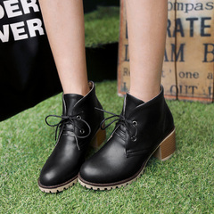 2015 new Europe wind and nude in autumn and winter boots high heel lace ankle boots round simple coarse with Martin boots women's boots women