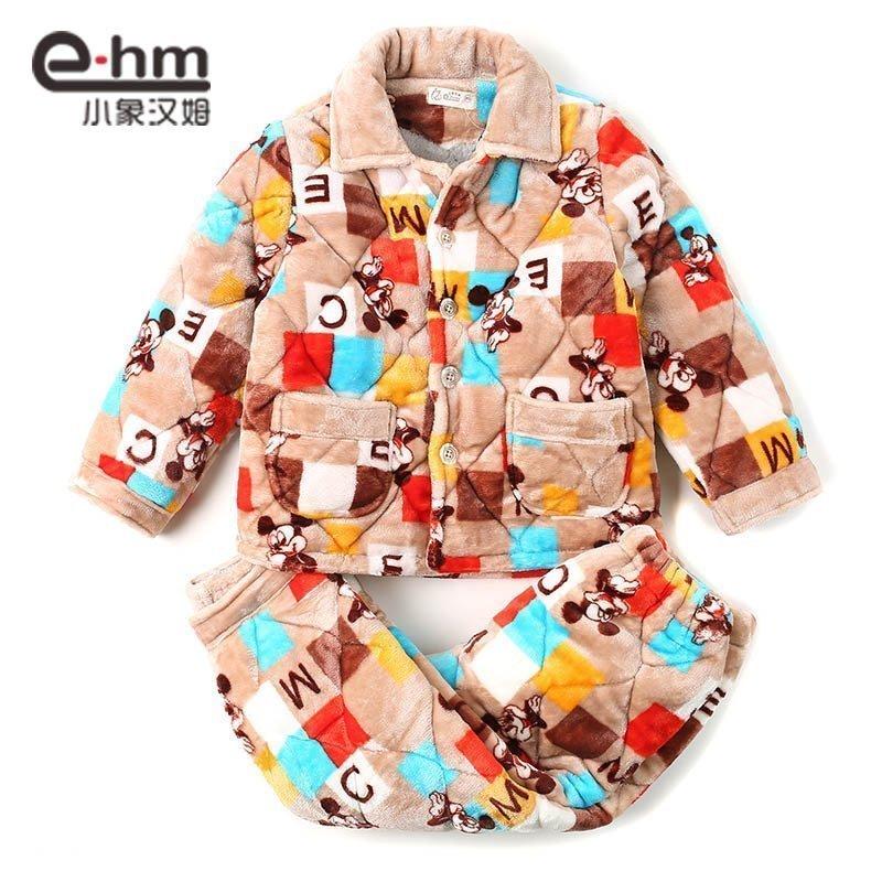 小象 冬季加厚长袖法兰绒儿童睡衣男童 男孩珊瑚绒家居服套装童装产品展示图4