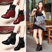 Shield Fox fall 2015 designer shoes chunky heels short boots with lace in Europe, wind point Martin boots women's boots
