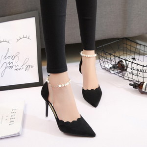 High-heeled sandals women summer 2018 summer new beaded pointed women's shoes tide stiletto shoes Korean wild shoes