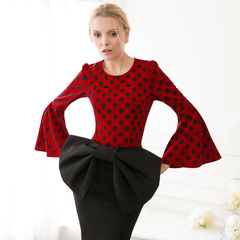 Europe shows an elegant wave dot print retro trumpeted-sleeve fashion slim spring t-shirt long sleeves 9239