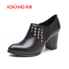Aokang shoes autumn 2015 new leather side zip rivet high heel pointy British leisure and ankle shoes