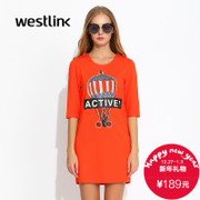 Westlink/five points West fall 2015 new hot air balloon letters printed sleeve dress t shirt skirt