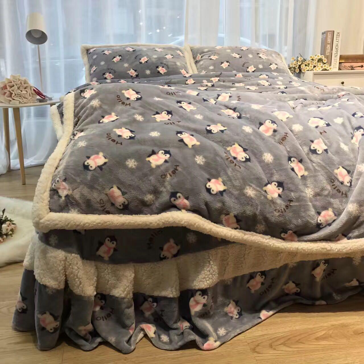 加厚保暖金貂绒韩版床单款羊羔绒珊瑚绒四件套双面法莱绒床上用品-十年一件事