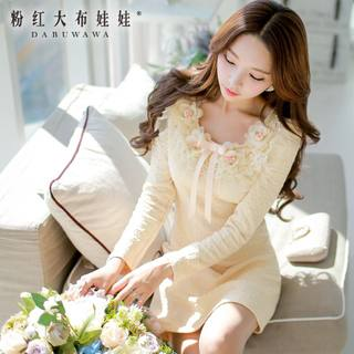 Slim dress pink doll 2015 fall dress-a slim ladies long sleeve dress