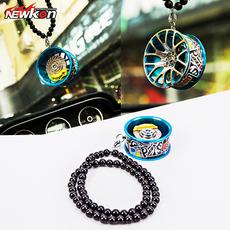 汽车挂件创意高档仿真金属轮毂车用车载后视镜挂件车轮钥匙扣挂饰