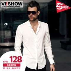 Viishow men's long sleeve white shirt Spring plus size easy-care shirt slim fit men's or boys ' shirts of cotton surges