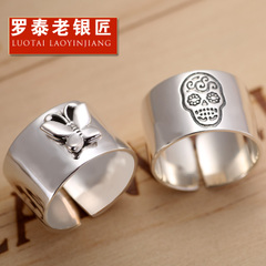 Chandos old silversmith ladies fashion rings s925 silver ring Korean skull jewelry butterfly Ring opening