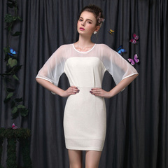 Really simple splicing see-through chiffon retro special textured skirt high waist trumpet sleeves celebrity dress 9054
