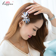 Smart hair ornament hairpin jewelry Korea spring clamp horizontal clamp clip rhinestone hairpin ponytail bow clip