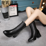Tilly cool feet in autumn and winter boots with high heels in the new 2015 rough over MOM and cowhide boots side zipper boot