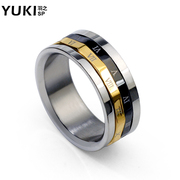 YUKI men''s single ring titanium steel ring finger ring retro hipster letters round Europe and transshipment nightclubs accessories