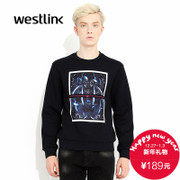 Westlink/West fall 2015 tile sets new printing head Wei length sleeves knit men's pullovers