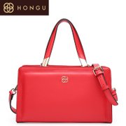 Honggu red Valley woman counters authentic Boston, Ms Candy-colored leather carry-on shoulder bag for 5016