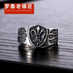 Chandos old silversmith 925 Silver anchor flowers vintage Thai silver wave punk men''s rings silver ring woman couple ring