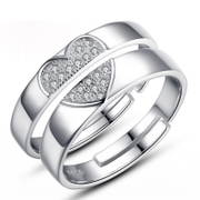 925 Silver Edition creative lettering live couples ring opening couple ring Adjustable ring gift