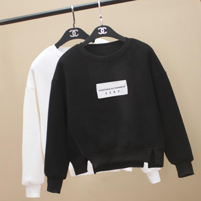 韩版秋装新款拼接短款学生chic上衣长袖宽松套头薄款小清新卫衣女