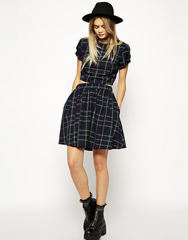 Retro skirts 2015 Europe classic blue and green Plaid skirt elastic waist side pockets Joker presale