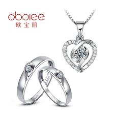 欧宝丽正品白18k金钻石套装结婚礼品吊坠情侣戒指镶嵌圆钻定制