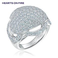 「HOF」Hearts On Fire 新品群镶18K金钻石戒指/钻戒/女戒UU 19