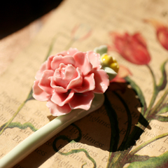 Green hand song Jingdezhen ceramic artefacts hairpin hair clip flower porcelain ethnic E01