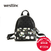 Westlink/West fall 2015 Europe new retro print shoulder bag Black PU doubles casual backpack
