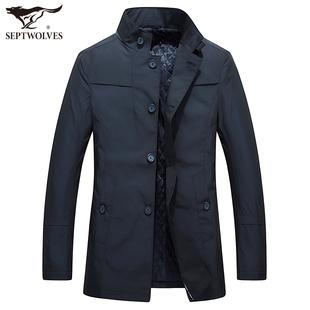 七匹狼风衣秋季新品中年男士商务休闲纯色外套立领中长款保暖上衣