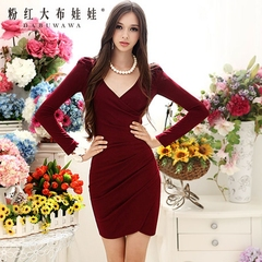 Autumn dress big pink doll 2015 OL temperament autumn wine red v-neck sexy long sleeve dress