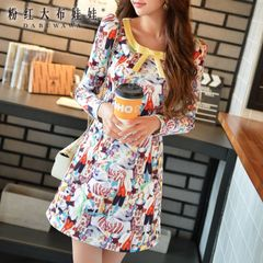 A-dress big pink doll 2015 autumn new slim inlay bowknot waist print dress