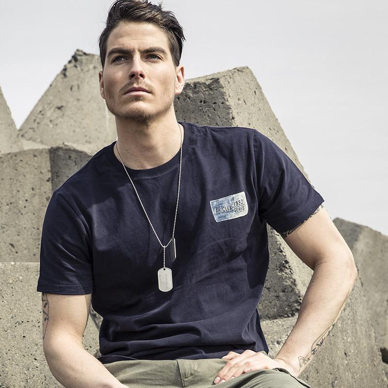 AK男装2016新款军事复古战争印迹印花字母短袖T恤夏季修身打底衫