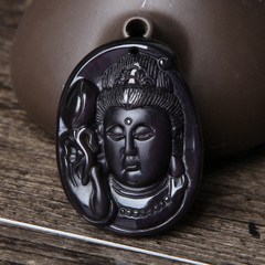 Natural Obsidian Guan Gong Bao Crystal carved Kwan-Yin pendant female male customer benefits