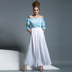 Spring and autumn in Europe and America the new simple white high waist wide leg trousers casual trousers and elegant skirt commuting pants 9179