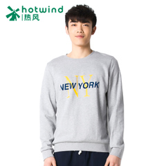Hot air men's spring men's cotton fabric t casual Pullover Sweater light gray 20W5105