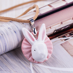 Young singers handmade jewelry original ceramics in Jingdezhen, Japan and South Korea cute Mori girl Bunny ceramic necklace