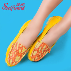 Interesting new leather shoes fashion-related printing color suede leather bean shoes with low heels shoes T01018