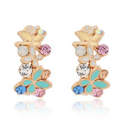 Pack mail jewelry Korea high quality fashion exquisite IRIS Korean rhinestone ear studs earrings