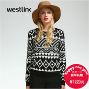 Westlink/West New 2015 winter geometric patterned crewneck Turtleneck long sleeve sweater women sweater