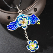Thai Silver 925 flower pendants cloisonne pendant ladies retro burn blue folk style pendant