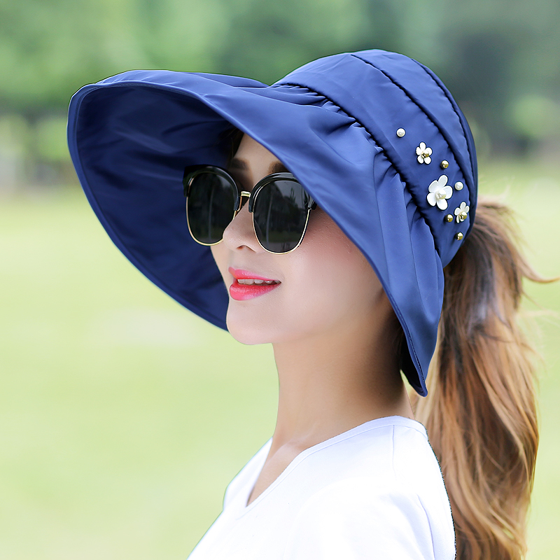 遮阳帽女夏天防晒防紫外线韩版大檐折叠空顶太阳帽帽子夏季防晒帽