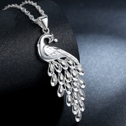 Treasure find Silver necklaces ladies pure silver 999 sterling silver Peacock pendant necklace chain clavicle silver jewelry birthday gifts