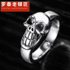 Punk skull silver ring 925 Silver skull ring domineering Thai silver jewelry to send her boyfriend a present