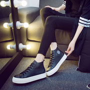 2015 winter new black shoes high strap at the end of the students ' canvas female Korean Shoes Sneakers casual shoes