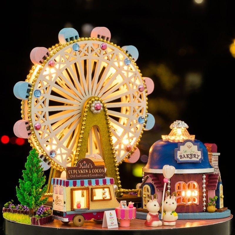 摩天轮音乐盒圣诞节八音盒天空之城diy木质女生创意手工生日礼物