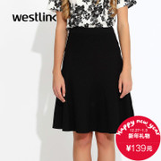 West fall 2015 tiered a-line skirt new knitting bag hip dress bust fishtail skirt little black dress in short skirts